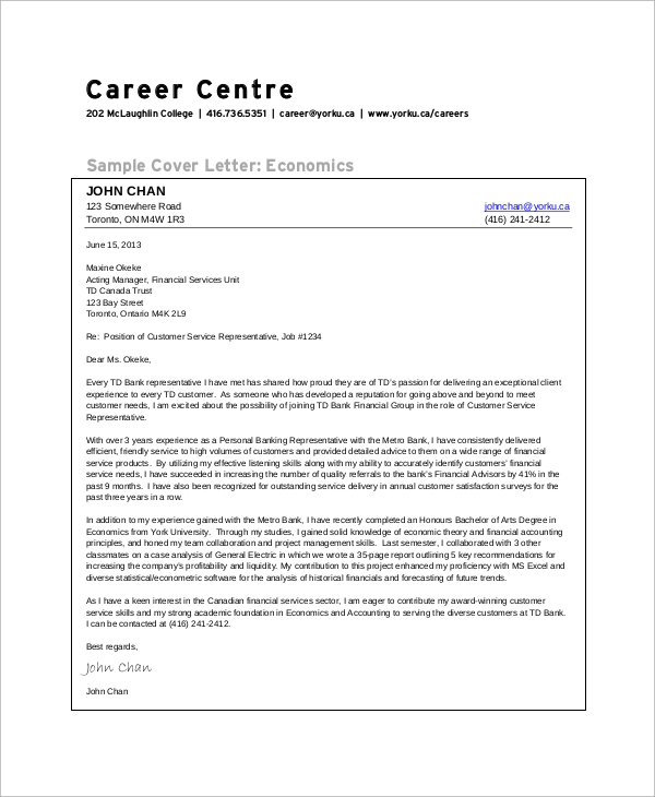 Sample Customer Service Cover Letter - 8+ Examples in Word, PDF