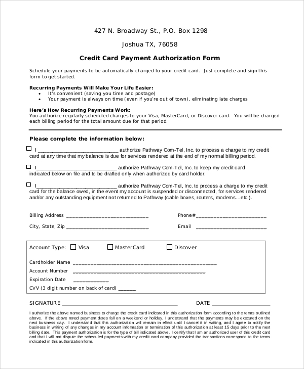 Sample Credit Card Form   Examples In Word Pdf