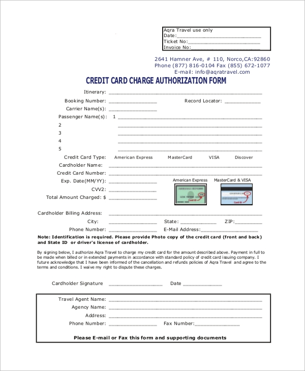 Sample Credit Card Authorization Form   Examples In Word Pdf