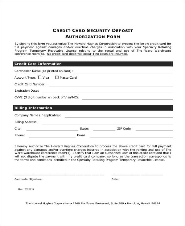 credit card security deposit authorization form