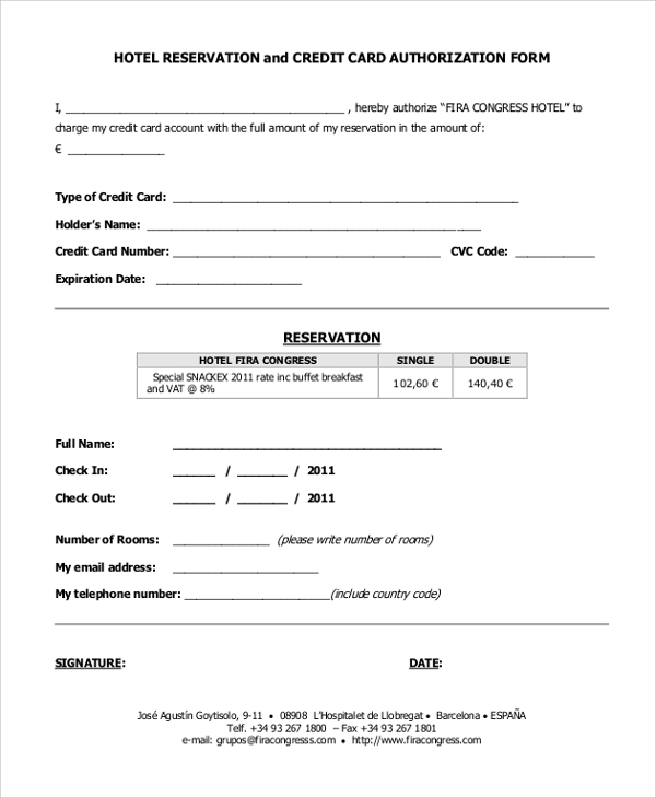 credit card authorization form and hotel reservation