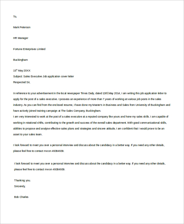Sample Job Cover Letter - 8+ Examples in Word, PDF