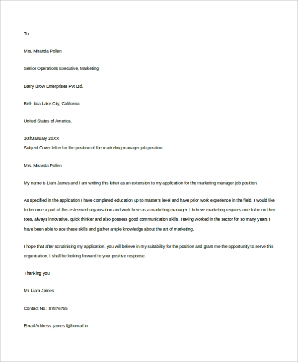 Sample Job Cover Letter   Examples In Word Pdf