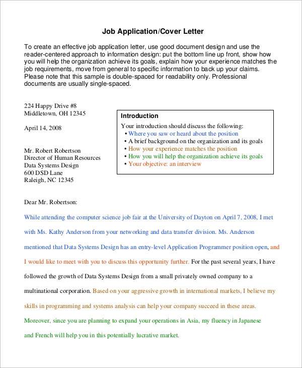 Sample Job Cover Letter 8 Examples in Word PDF – Should Cover Letters Be Double Spaced
