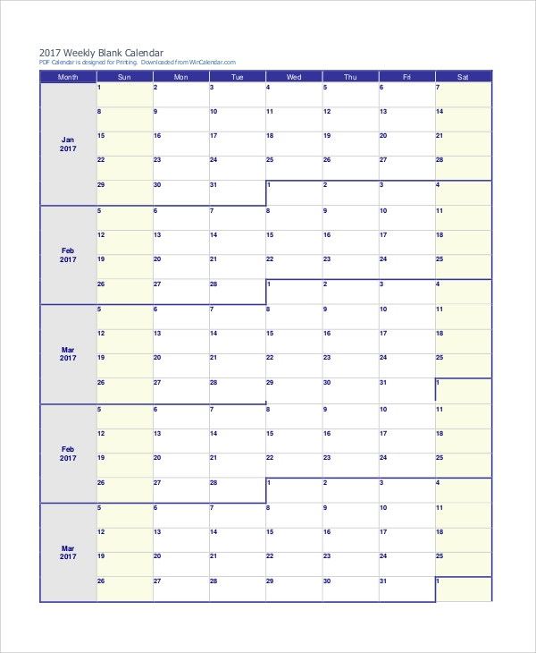 Free Sample Printable Weekly Calendar   Examples In Word Pdf
