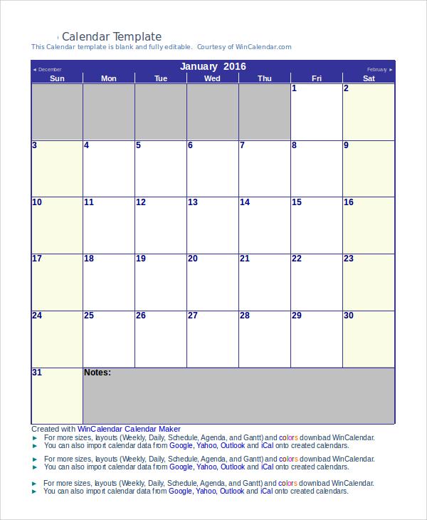 sample blank monthly calendar