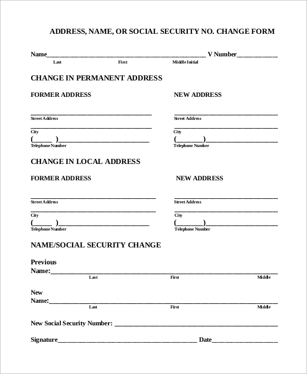 Sample Social Security Change Of Address   Examples In Pdf