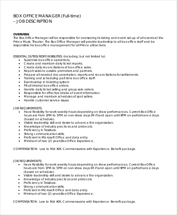 Sample Office Manager Job Description   Examples In Pdf Word