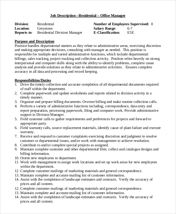 sample office manager job description 9 examples in pdf word
