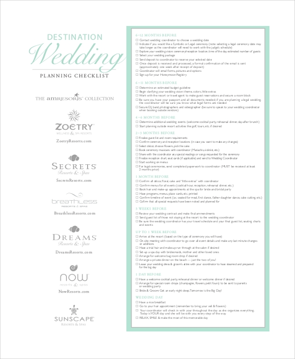 wedding event planner checklist