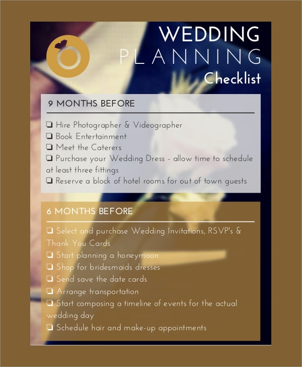 printable wedding planner checklist