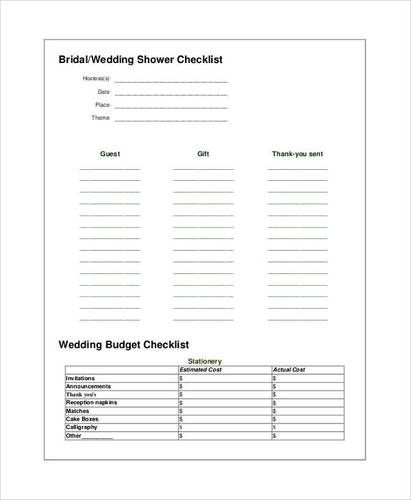 wedding shower planner checklist