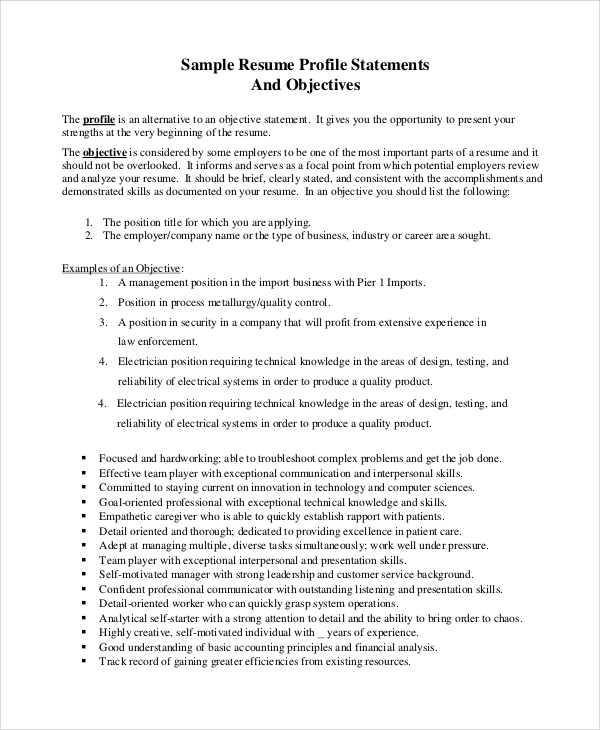 sample resume objective statement - Example Resume Objective Statements