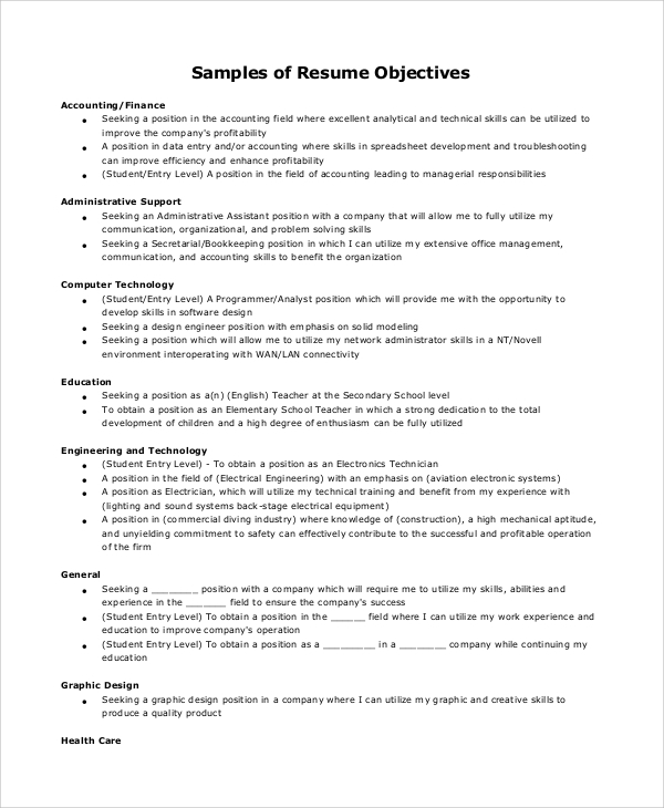 Free 9 Sample Resume Objective Templates In Pdf Ms Word
