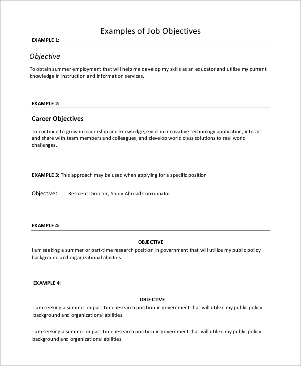 Examples First Job Resume Templates: 8+ Sample Resume Objectives