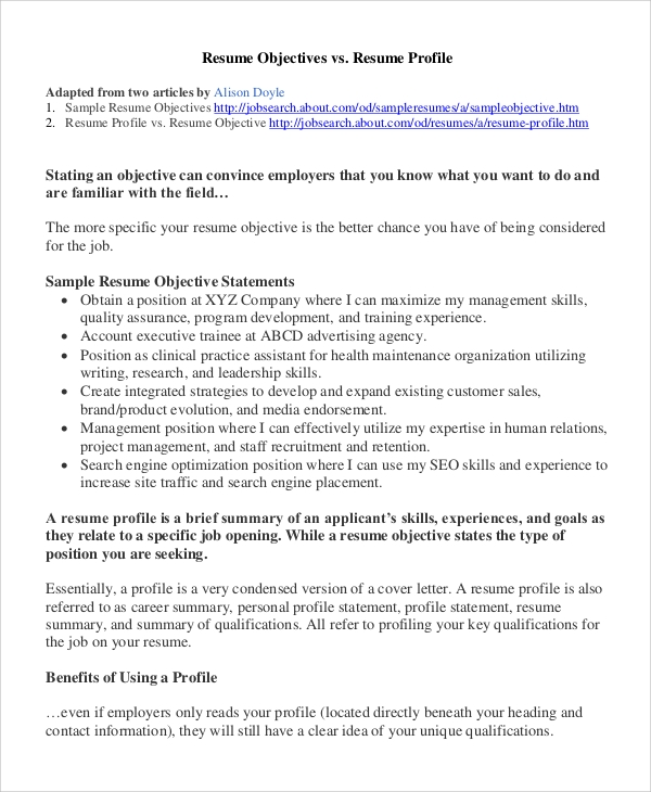 sample resume objective 8 examples in pdf - Sample Resume Profiles