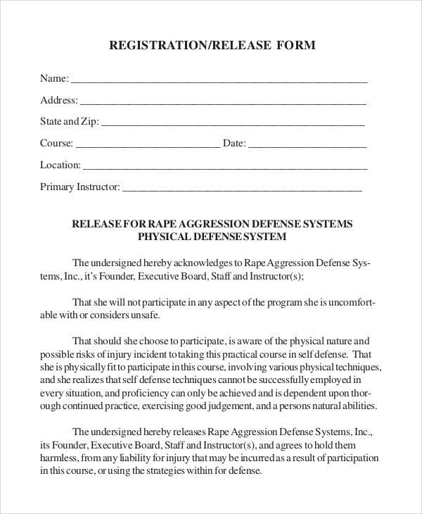 registration release form