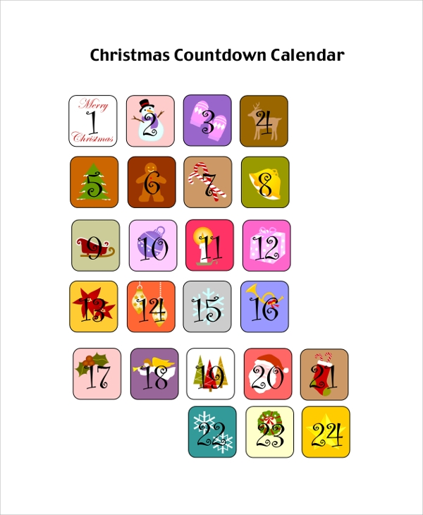 photograph about Countdown Calendar Printable identified as Printable Calendar Pattern - 8+ Illustrations within just PDF, Term