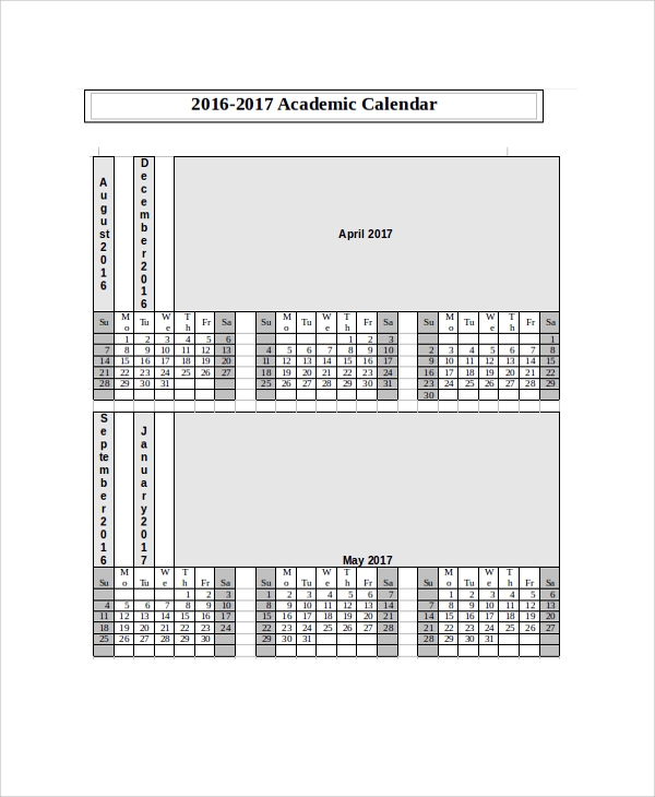 Printable Calendar Sample 8 Examples in PDF Word – Sample Academic Calendar