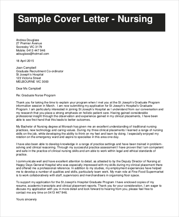 Cover letter nursing job application – Practice Job Application