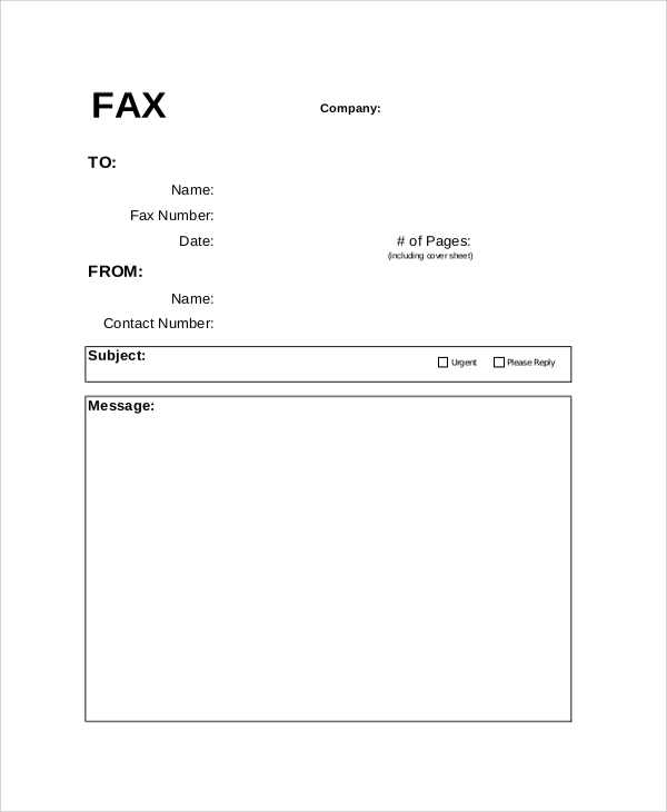 Blank Fax Cover Sheet Sample Printable Tree Fax Cover Sheet Word