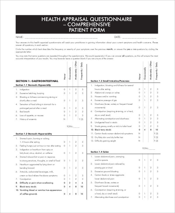 Sample Questionnaire   Examples In Word Pdf