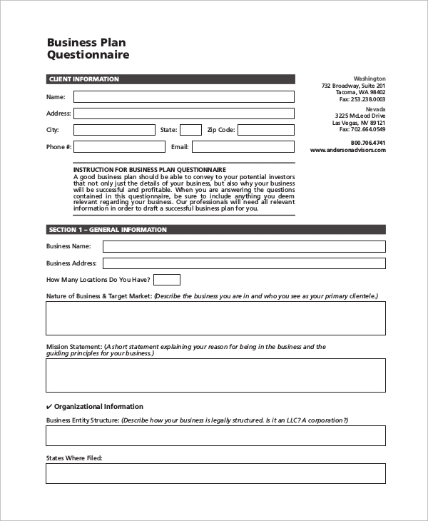54 questionnaire samples pdf word pages sample for Business requirements questionnaire template