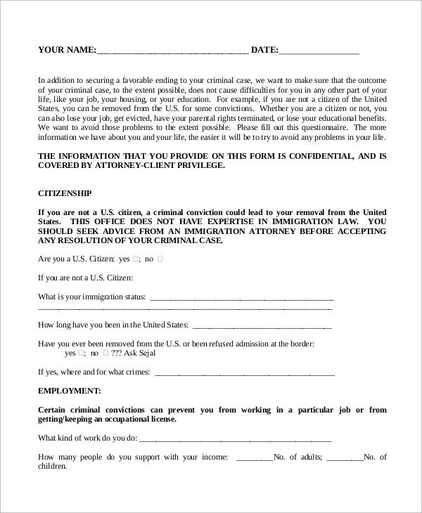 public defender client questionnaire