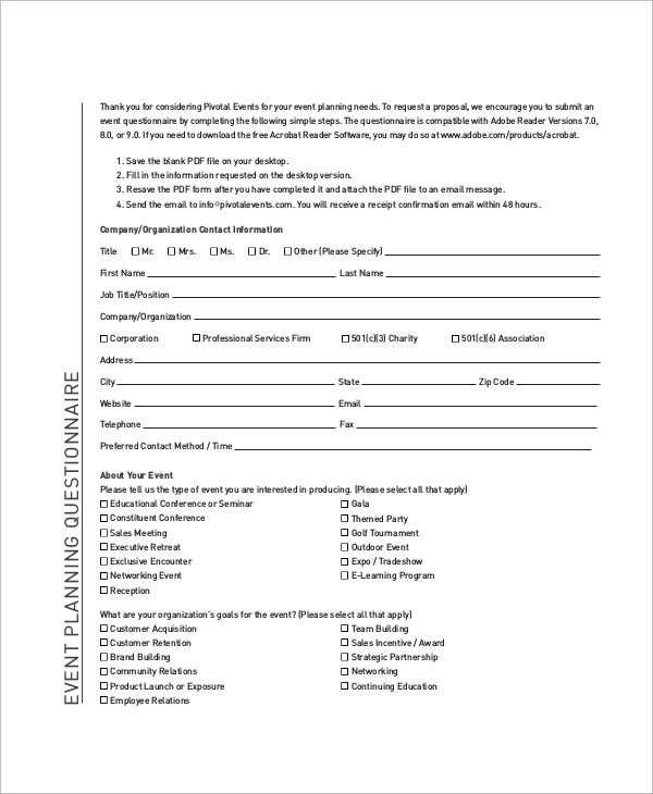 54 questionnaire samples pdf word pages sample for Conference survey template