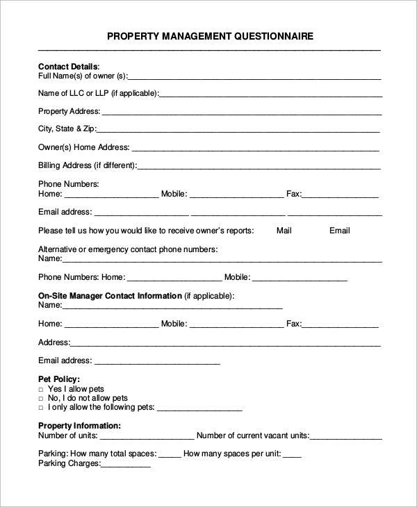 property management questionnaire