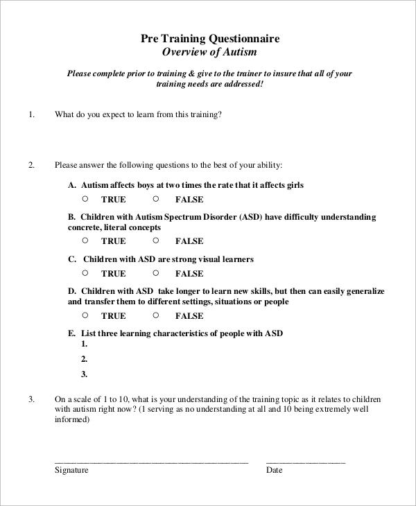 pre training questionnaire overview