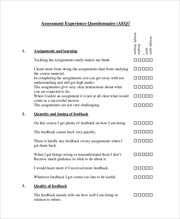 assessment experience evaluation questionnaire
