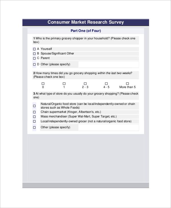 consumer market survey questionnaire