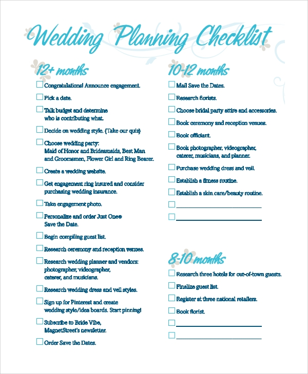 sample wedding checklist 8 examples in pdf