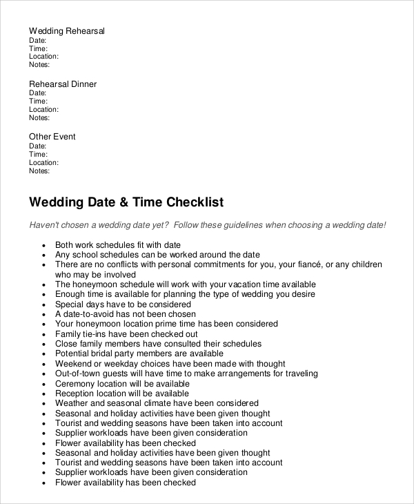 Complete Wedding Checklist: Sample Wedding Checklist