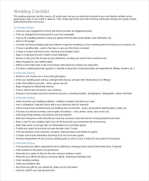 printable wedding checklist pdf
