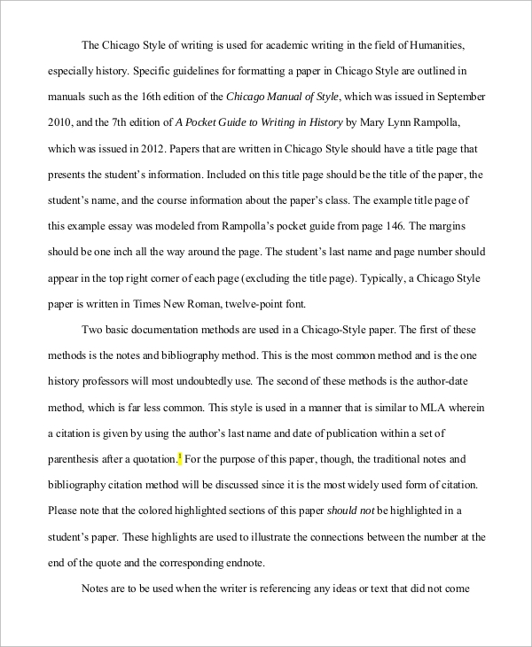 chicago style research paper outline