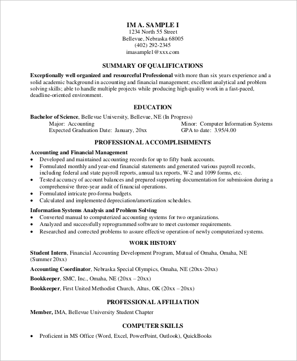 experienced professional resume