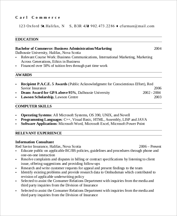 Sample Professional Resume   Examples In Pdf