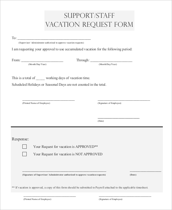 Sample Vacation Request Form 8 Examples in PDF Word – Vacation Request Form