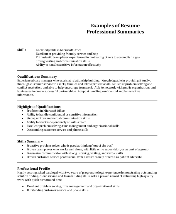 sample professional resume 7 examples in pdf