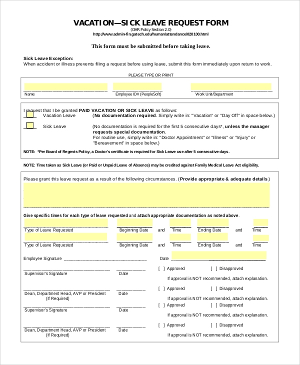 Sample Vacation Leave Request Form