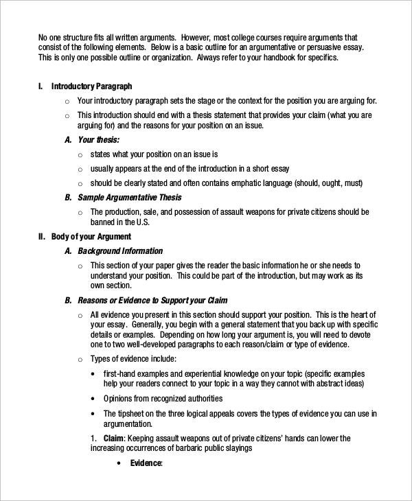 argument outline paper how - Outline Of Essay Example