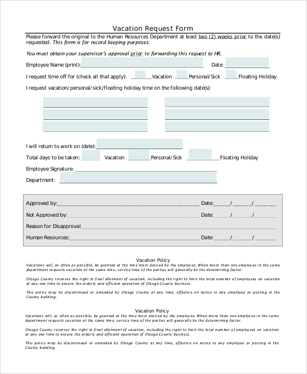 FREE 8+ Sample Vacation Request Forms in PDF | MS Word
