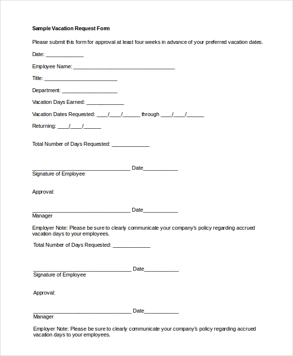Good Vacation Request Form Sample Format