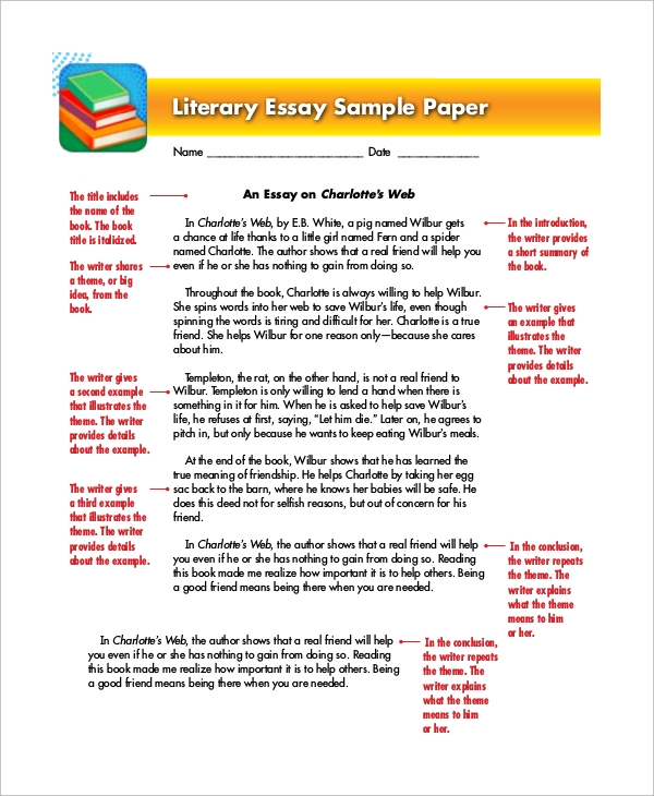 sample paper examples in word pdf literary essay paper for kids