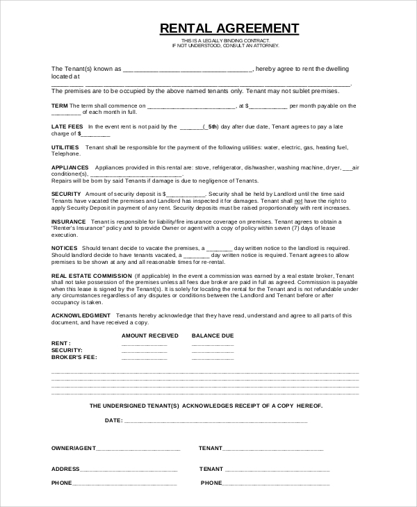 basic renters agreement