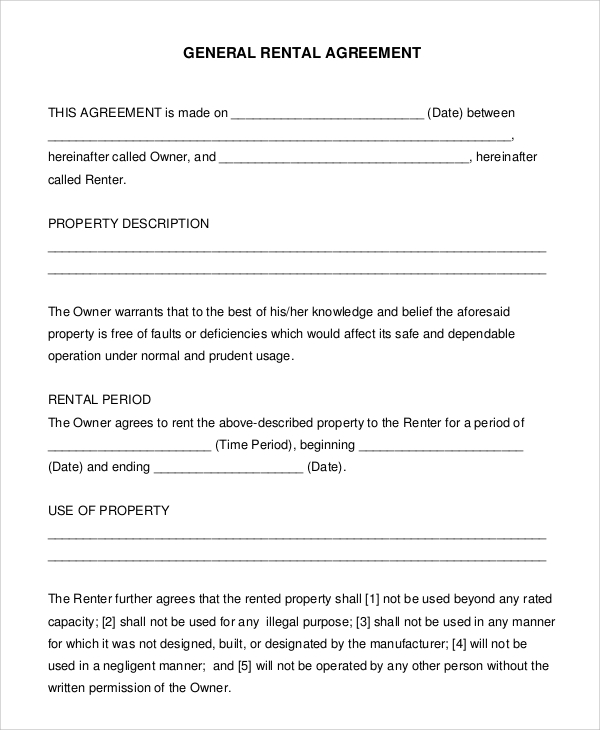 general renters agreement
