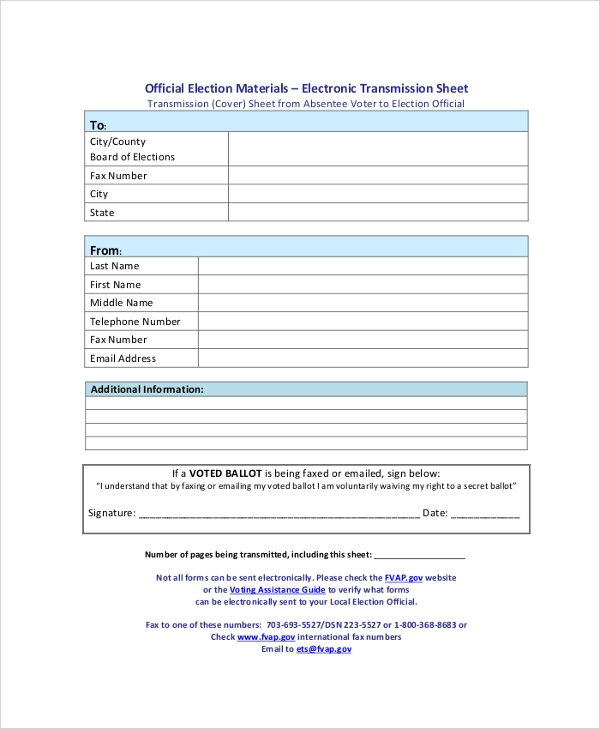 blank fax transmission cover sheet sample