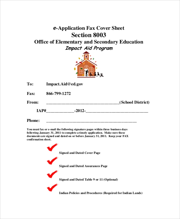 blank application fax cover sheet format